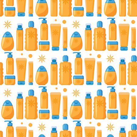 Seamless pattern with sunscreen cream and lotion on white