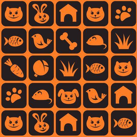 Pets icon set mosaic Seamless pattern.