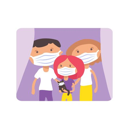 Family with face masks. COVID-19 quarantine conceptual vector illustration. Protection from coronavirus or respiratory virus. Prevent infection respiratory tract. Vettoriali
