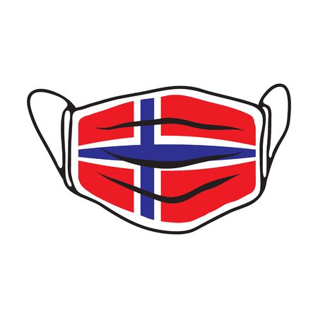 Breathing medical face mask with flag of Denmark. COVID-19 conceptual vector illustration. 2019-ncov virus. Prevent infection respiratory tract. Flat design.