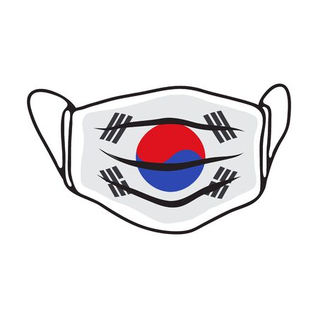 Breathing medical face mask with flag of South Corea. COVID-19 conceptual vector illustration. 2019-ncov virus. Prevent infection respiratory tract. Flat design. Vettoriali