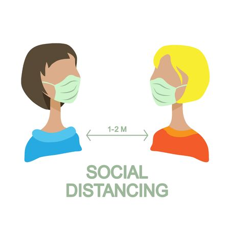 Social distancing to protect from COVID-19 coronavirus outbreak spreading concept. Keep the 1-2 meter distance. Conceptual vector illustration.