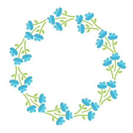 Spring border with forget-me-not isolated on white