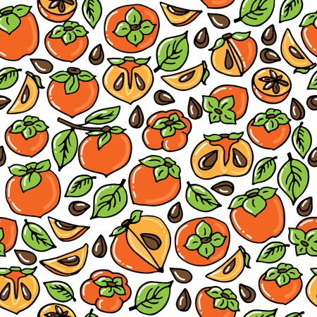 Seamless pattern with persimmon fruits. Hand drawn style. Vector illustration. Design element for fabric, banner, wallpaper, wrapping paper.