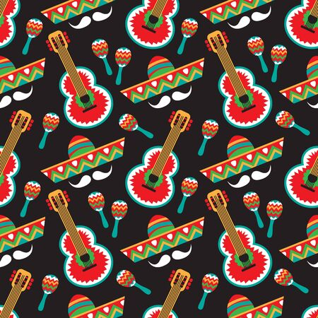 Seamless pattern with mexican national characters: sombrero, guitar and maracas. Cinco De Mayo symbols. Vector illustration. Design elements for fabric, banner, wallpaper, wrapping paper.
