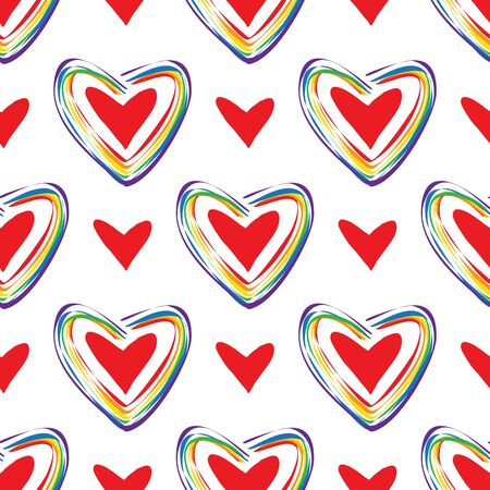 Seamless pattern with rainbow hearts. LGBT pride symbol. Design element for fabric, banner, wallpaper or gift wrap.
