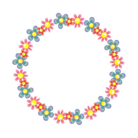 Floral border isolated on white background. Vector illustration. Design element for greeting card, leaflet, poster, cover or photo frame. Ilustracje wektorowe