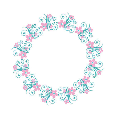 Floral border isolated on white background. Vector illustration. Design element for greeting card, leaflet, poster, cover or photo frame.