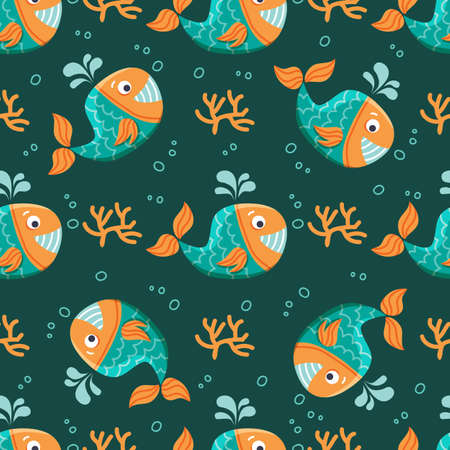 Seamless pattern with cute whale. Underwater life. Flat design. Vector illustration. Design element for fabric, wallpaper or wrapping paper.