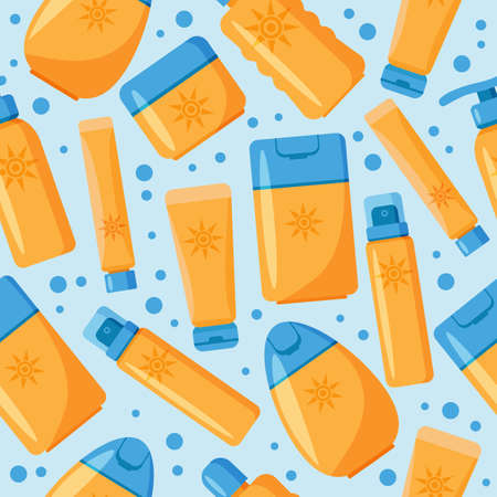 Seamless pattern with sunscreen cream and lotion on blue background. Ilustração