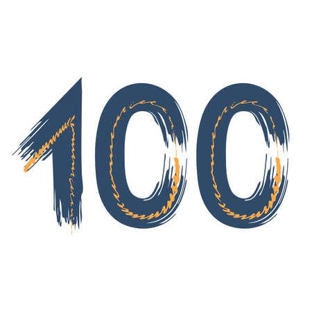 Grunge number 100 isolated on white background. Jeans denim color. Vector illustration. Design element for poster, leaflet, booklet, social media, greeting card. Иллюстрация