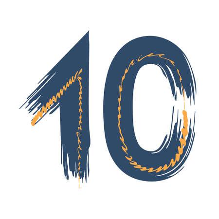 Grunge number ten isolated on white background. Jeans denim color. Vector illustration. Design element for poster, leaflet, booklet, social media, greeting card.