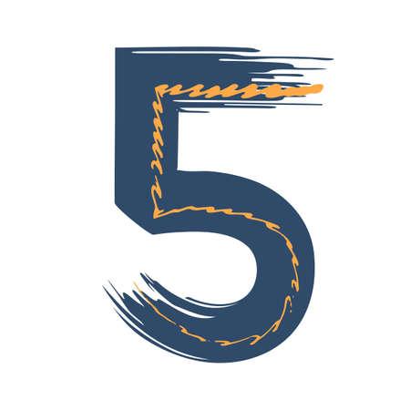 Grunge number five isolated on white background. Jeans denim color. Vector illustration. Design element for poster, leaflet, booklet, social media, greeting card.