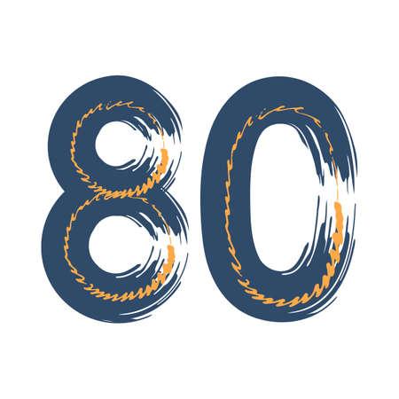 Grunge number 80 isolated on white background. Jeans denim color. Vector illustration. Design element for poster, leaflet, booklet, social media, greeting card.
