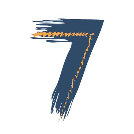 Grunge number seven isolated on white background. Jeans denim color. Vector illustration. Design element for poster, leaflet, booklet, social media, greeting card.