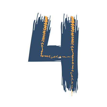 Grunge number four isolated on white background. Jeans denim color. Vector illustration. Design element for poster, leaflet, booklet, social media, greeting card. Иллюстрация