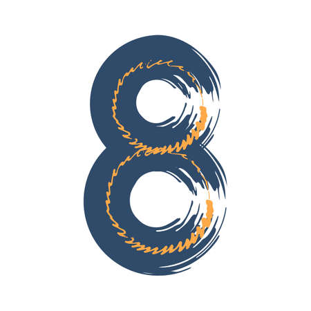 Grunge number eight isolated on white background. Jeans denim color. Vector illustration. Design element for poster, leaflet, booklet, social media, greeting card. Иллюстрация