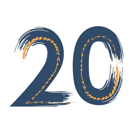 Grunge number 20 isolated on white background. Jeans denim color. Vector illustration. Design element for poster, leaflet, booklet, social media, greeting card. Иллюстрация