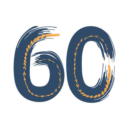 Grunge number 60 isolated on white background. Jeans denim color. Vector illustration. Design element for poster, leaflet, booklet, social media, greeting card.