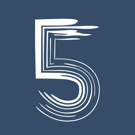 Grunge number 5 isolated on white background. Jeans denim color. Vector illustration. Design element for poster, leaflet, booklet, social media, greeting card.