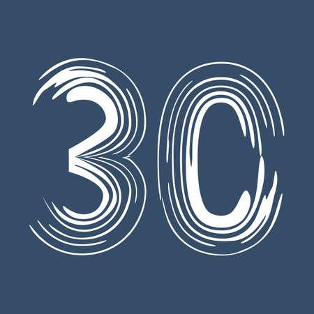 Grunge number 30 isolated on white background. Jeans denim color. Vector illustration. Design element for poster, leaflet, booklet, social media, greeting card.