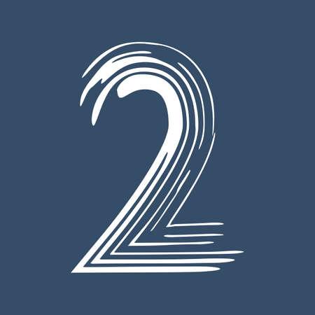 Grunge number 2 isolated on white background. Jeans denim color. Vector illustration. Design element for poster, leaflet, booklet, social media, greeting card.