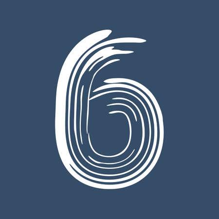 Grunge number 6 isolated on white background. Jeans denim color. Vector illustration. Design element for poster, leaflet, booklet, social media, greeting card.
