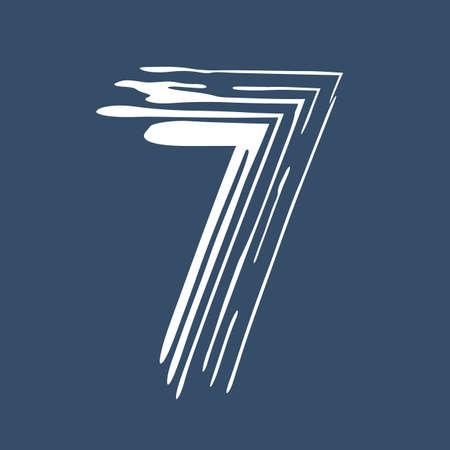 Grunge number 7 isolated on white background. Jeans denim color. Vector illustration. Design element for poster, leaflet, booklet, social media, greeting card.