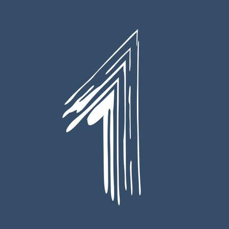 Grunge number 1 isolated on white background. Jeans denim color. Vector illustration. Design element for poster, leaflet, booklet, social media, greeting card.
