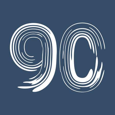 Grunge number 90 isolated on white background. Jeans denim color. Vector illustration. Design element for poster, leaflet, booklet, social media, greeting card.