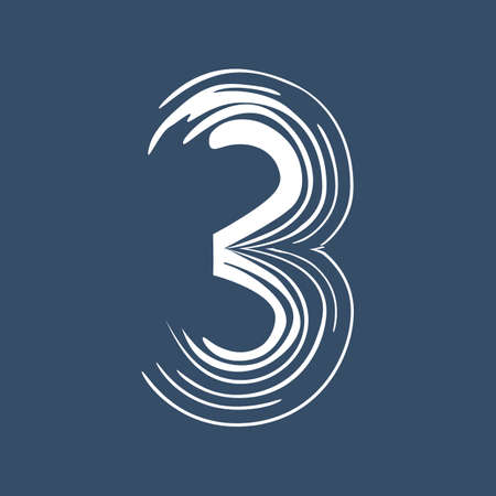 Grunge number 3 isolated on white background. Jeans denim color. Vector illustration. Design element for poster, leaflet, booklet, social media, greeting card.
