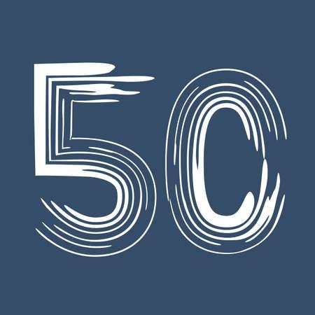 Grunge number 50 isolated on white background. Jeans denim color. Vector illustration. Design element for poster, leaflet, booklet, social media, greeting card.