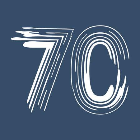 Grunge number 70 isolated on white background. Jeans denim color. Vector illustration. Design element for poster, leaflet, booklet, social media, greeting card. Иллюстрация