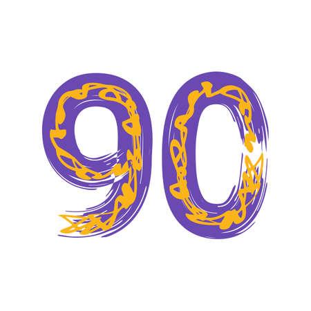 Grunge number 90 isolated on white background. Vector illustration. Design element for poster, leaflet, booklet, social media, greeting card.
