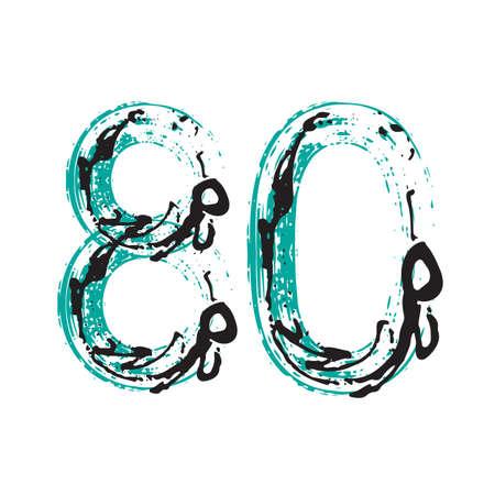 Grunge number 80 isolated on white background. Vector illustration. Design element for poster, leaflet, booklet, social media, greeting card.
