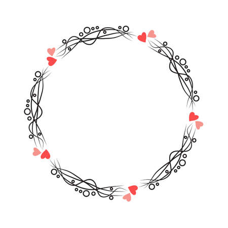 Doodle hand drawn circle frame isolated on white background. Vector illustration. Curly ornate swoosh border. Cute romantic curlicue scrawl style.