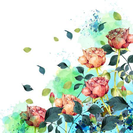 Watercolor rose garden