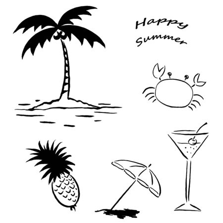 Summer Line Drawing Illustrations