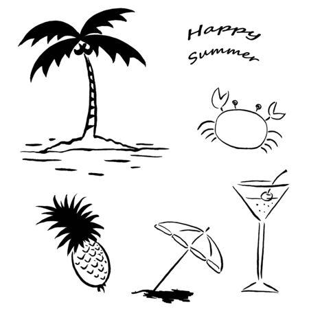 Summer Line Drawing Illustrations