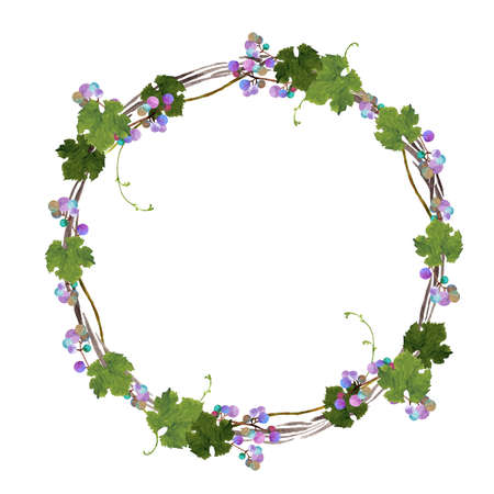 Watercolor painting of wild berry wreath