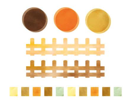 Watercolor autumn color decoration set