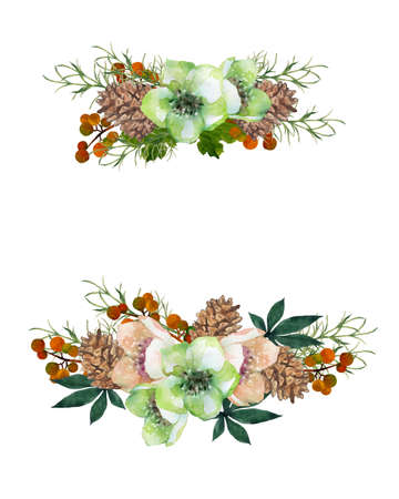 Watercolor Christmas rose decoration
