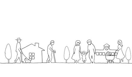 Line drawing of town landscape with people Vector Illustration