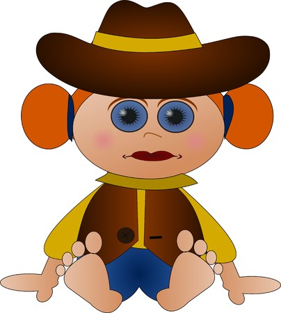 barefoot cowboy: Cute little cowgirl Stock Photo