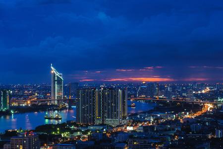 praya: Sunset and buildings light Stock Photo