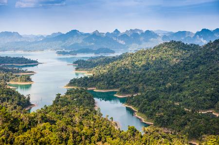 birdeye: Birdeye view of Ratchaprapha dam Khao sok national park at suratthani,Thailand