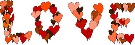 The word  Love   many hearts Stock Vector - 17291195