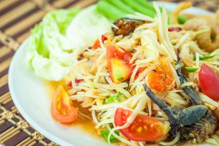 long bean: papaya salad thai cuisine spicy delicious
