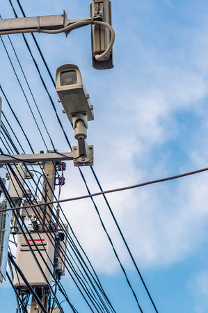 Two cctv security cameras on the street pylon  photo