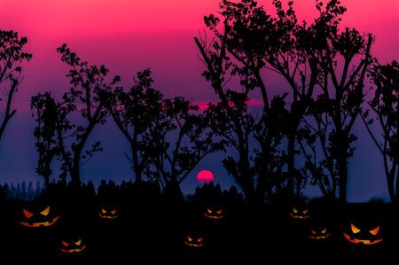 Halloween background with silhouettes tree Zdjęcie Seryjne